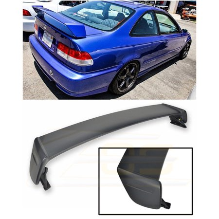 Extreme Online Store for 1996-2000 Honda Civic 2Dr Coupe   EOS Mugen Style JDM ABS Plastic Primer Black Rear Trunk Lid Wing - Coupe Custom Style Spoiler