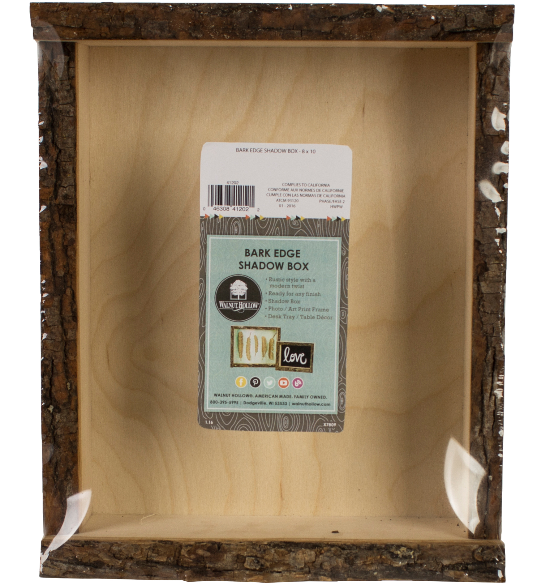 "Basswood Natural Bark Edge Shadow Box-9.38""x11.38""x3.62"""
