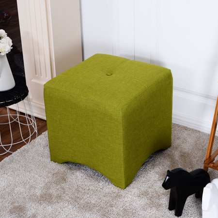 Strange Costway Green Square Cube Ottoman Foot Stool Foot Rest Seating Wood Frame Furniture New Bralicious Painted Fabric Chair Ideas Braliciousco