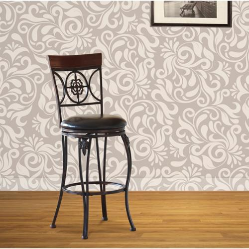 Oh! Home Lily Flower Counter Stool, Distressed Brown PVC