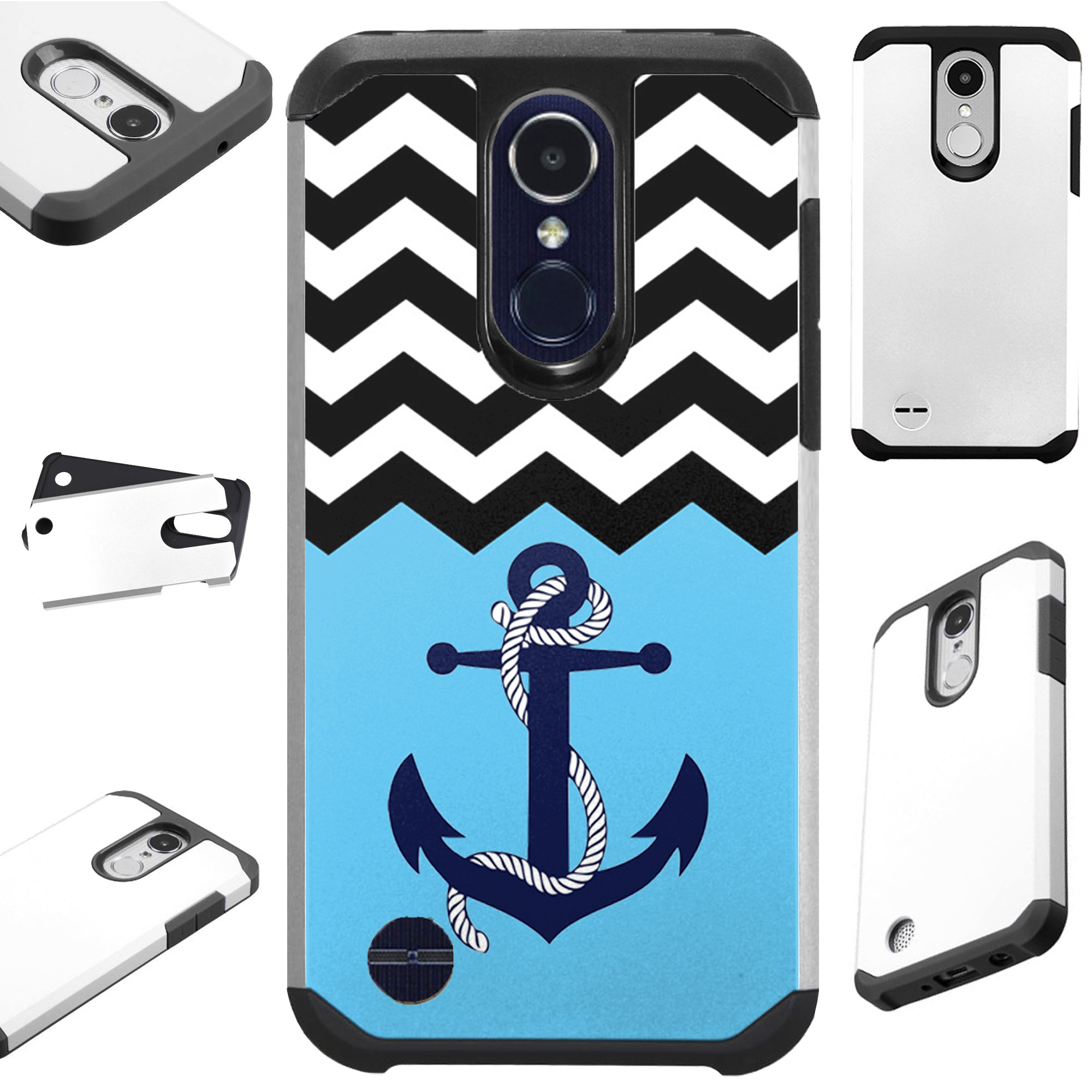 For LG Rebel 4 | LG Rebel 3 Case Hybrid TPU Fusion Phone Cover (Anchor Wave)