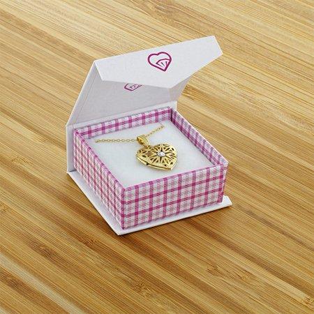 "En forme de coeur en cristal clair Avril Filigrane Médaillon photo collier pendentif 19"" - image 6 de 8"