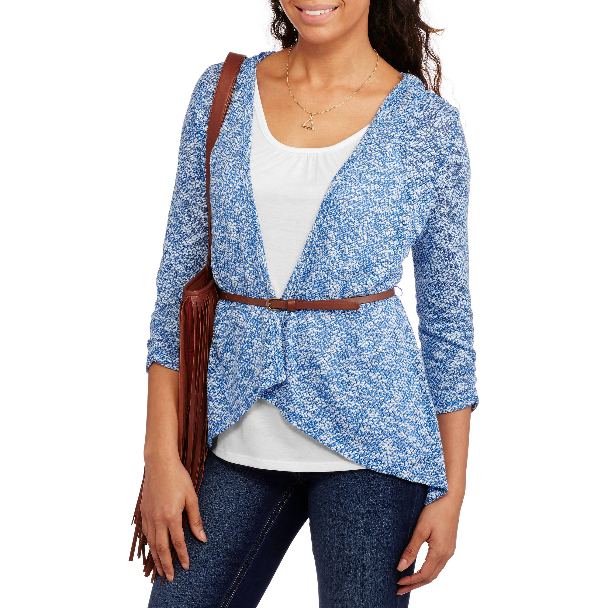 No Boundaries Juniors Tank, Cardigan, & Belt 3-Fer