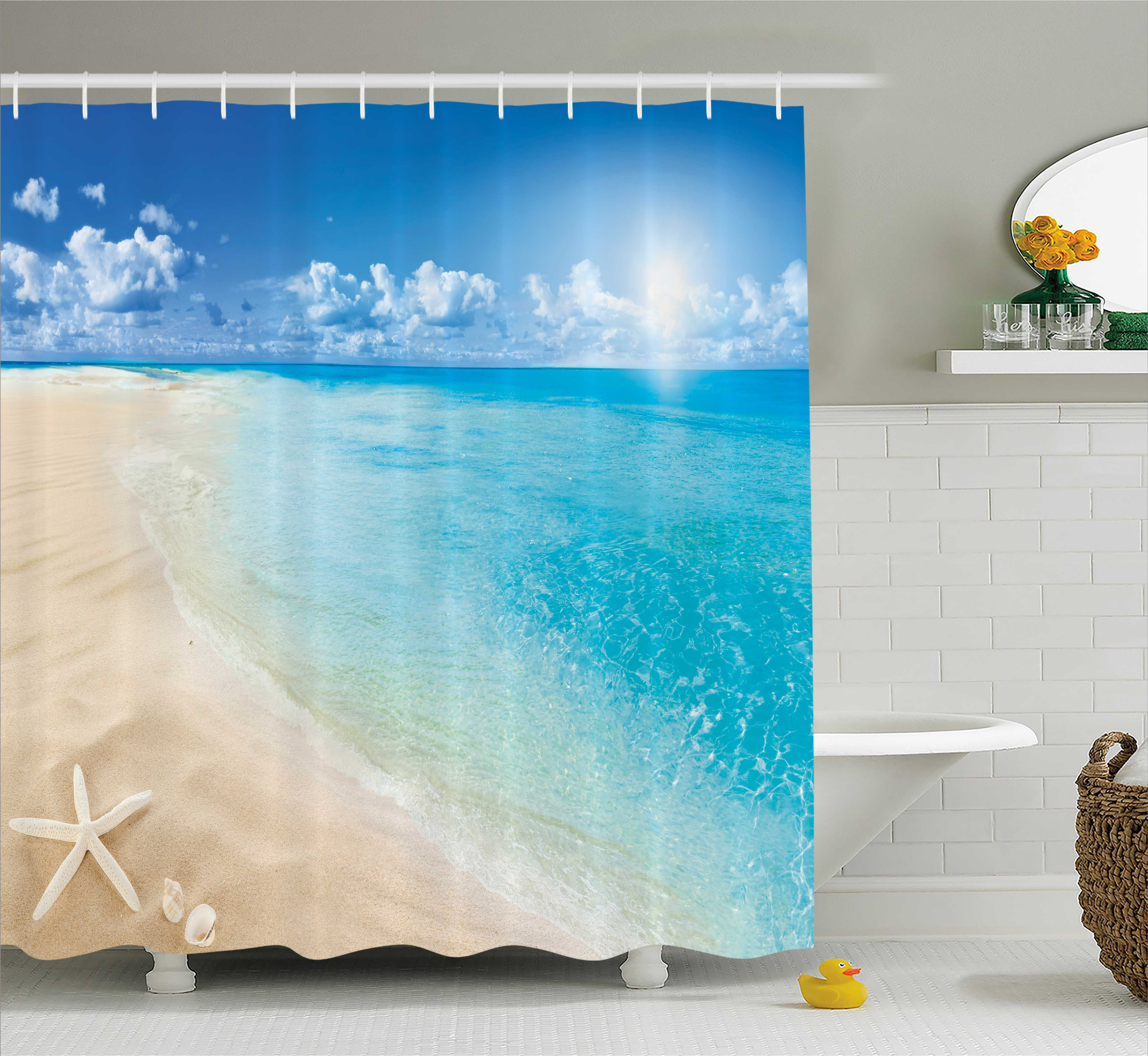 Beach Shower Curtain, Sunny Summer Seashore with Clear Sky Seashells Starfish Clouds Aquatic Picture, Fabric Bathroom Set with Hooks, 69W X 70L Inches, Aqua Cream Blue, by Ambesonne