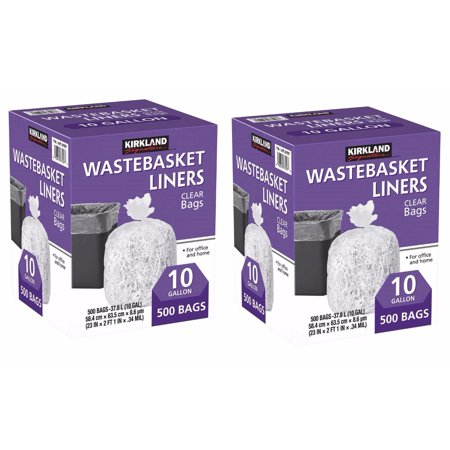 2 Boxes Of 500 Ct Kirkland Signature 10 Gallon Clear Wastebasket Liners TOTAL 1000