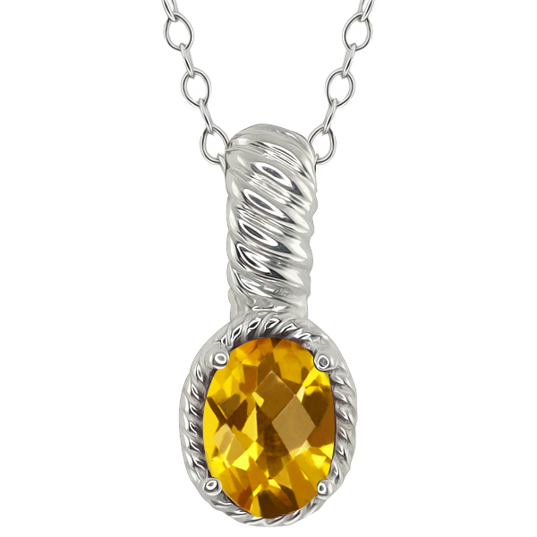 1.25 Ct Checkerboard Yellow Citrine Sterling Silver Pendant