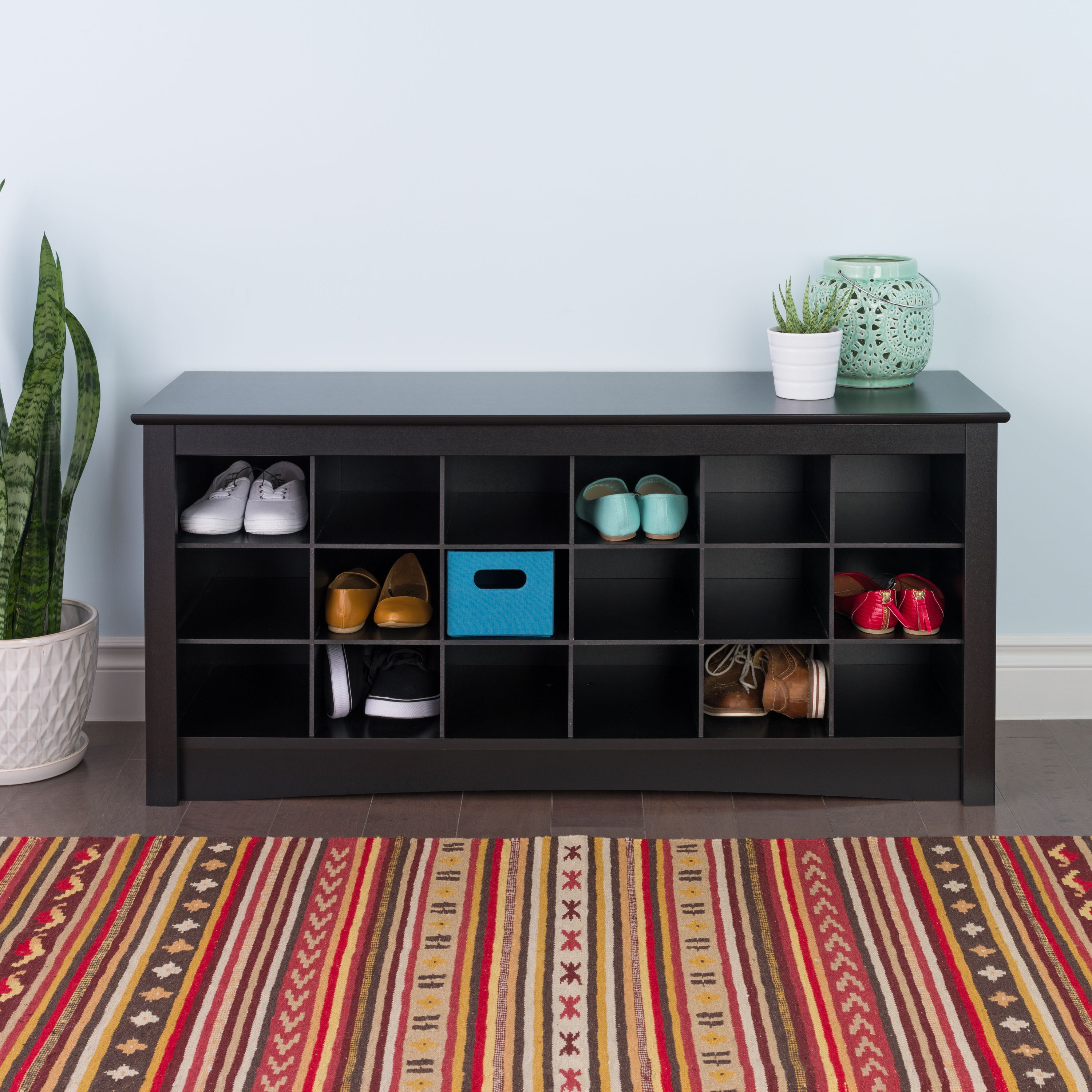 Prepac Entryway Shoe Storage Cubby Bench, Multiple Finishes