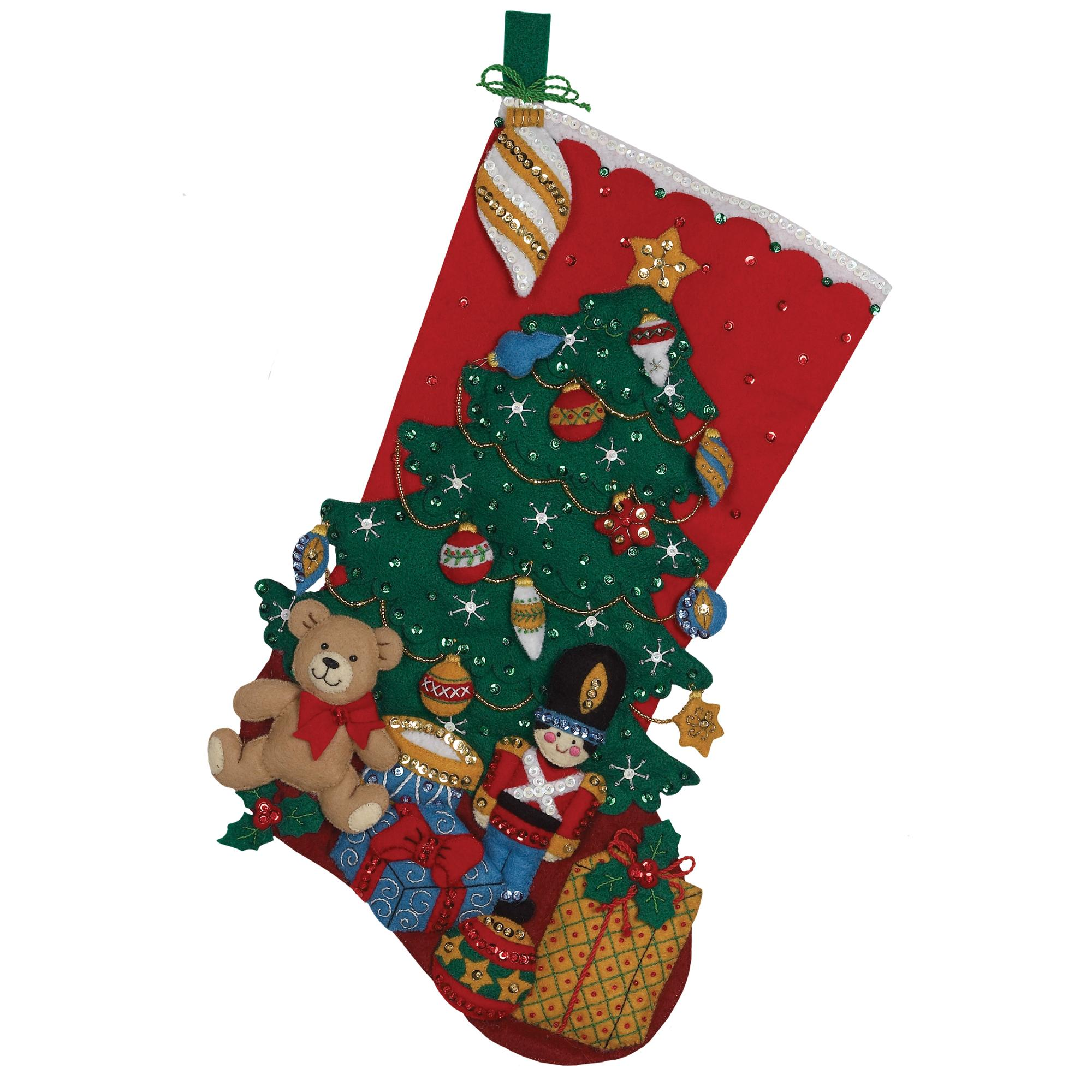 Bucilla Felt Applique Stocking Kit by Plaid, Under the Tree, 18""