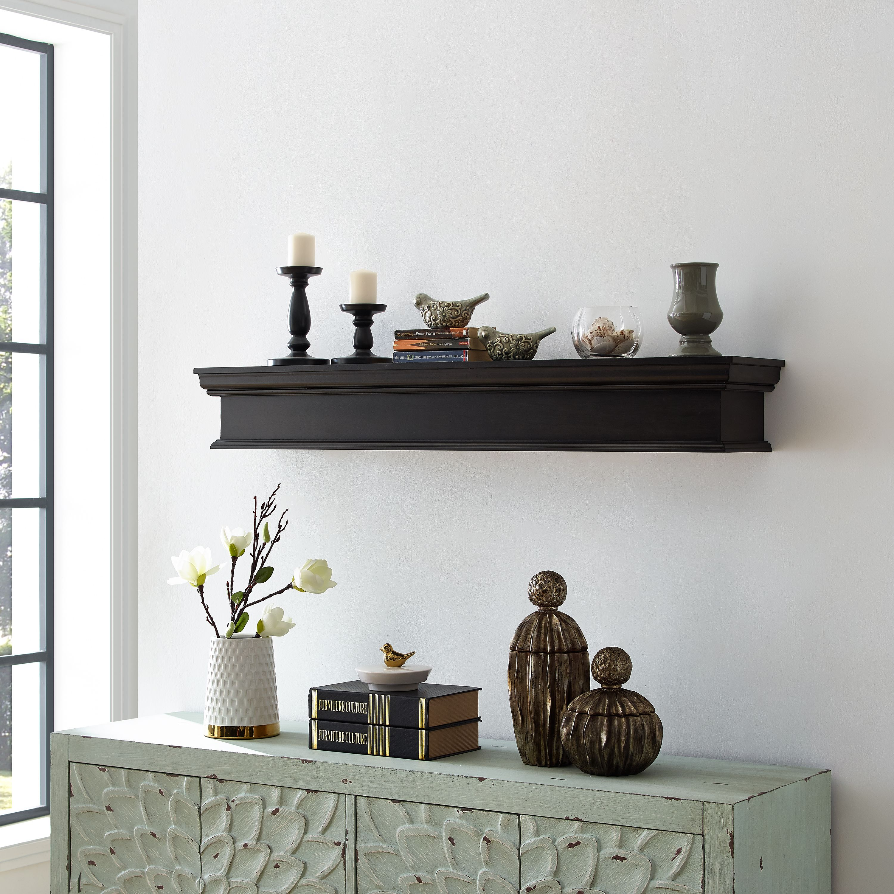 Adom Fireplace Mantel Shelf, Traditional, Smoked Ash