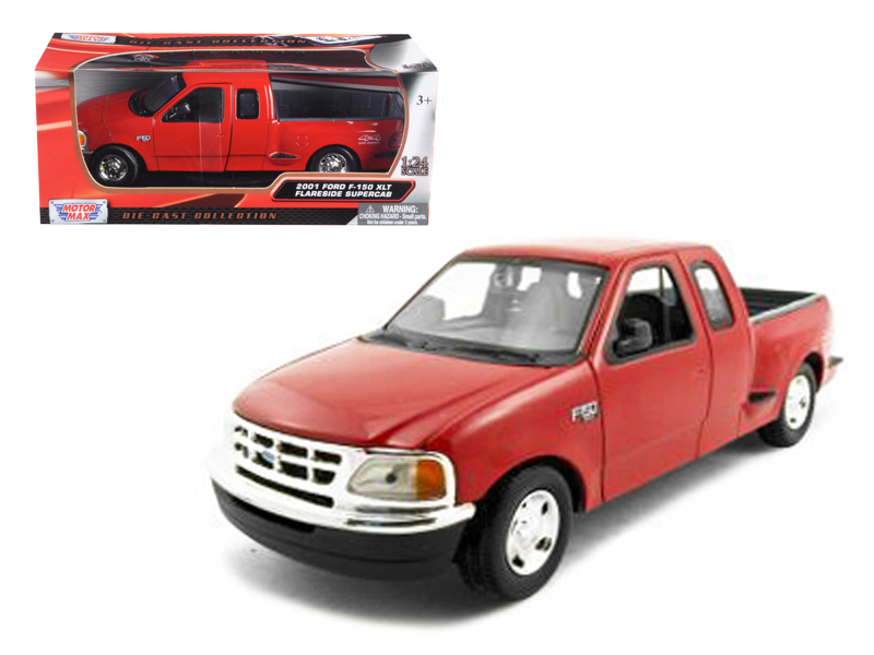 Ford F  Pickup Truck Flareside Supercab Red  Cast Model Car By