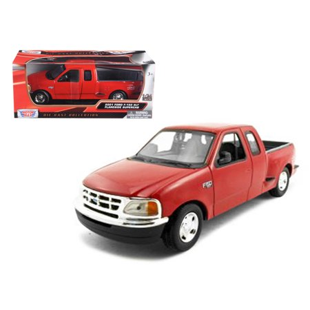 (Ford F-150 Pickup Truck Flareside Supercab Red 1/24 Diecast Model Car by Motormax)