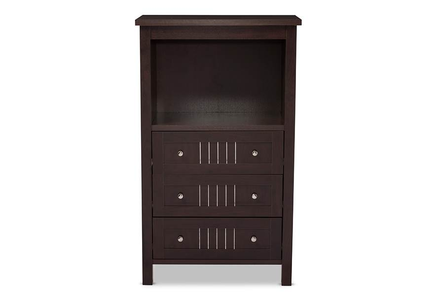Baxton Studio Cyclo Modern and Contemporary Dark Brown Sideboard Storage Cabinet with 3 Drawers by Wholesale Interiors