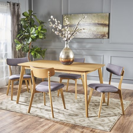 Noble House Lucca Mid-Century Modern Wood 5 Piece Dining Set, Natural Oak, Dark (Oak 5 Piece Sets)
