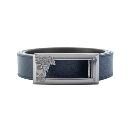 Versace Collection Men's Medusa Steel Buckle Leather Belt Navy