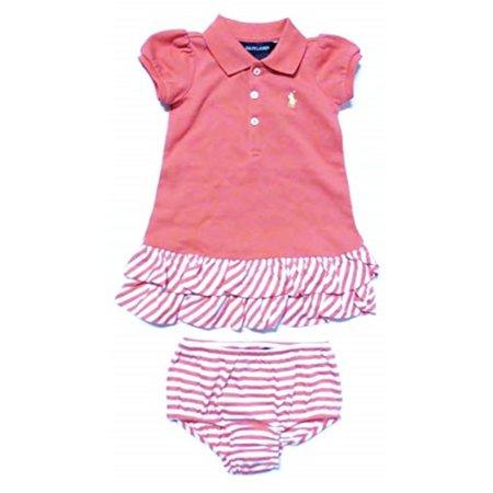 224b4ec1 Polo Ralph Lauren Infant Girl's 2 Piece Dress Coral Pink Size 12 Months