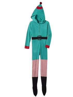 Womens Green Fleece Elf Holiday Blanket Sleeper Footie Pajama Union Suit