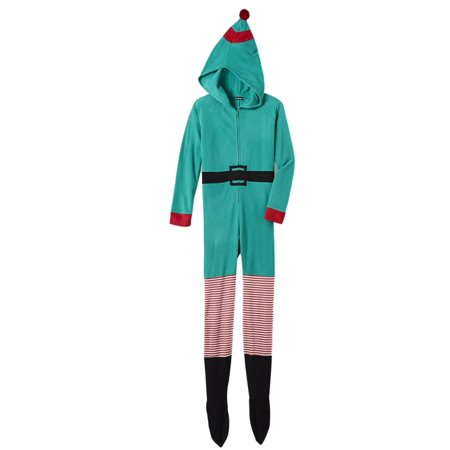 Womens Green Fleece Elf Holiday Blanket Sleeper Footie Pajama Union Suit - Women Elves