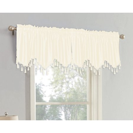 Raquel Faux Silk Rod Pocket Straight Valance With Tassels, Ivory, 55x18 Inches