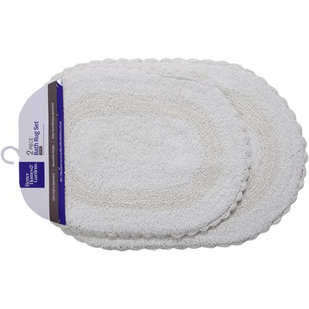 Better Homes And Gardens 2 Piece Crochet Edge Cotton Bath Rug Set
