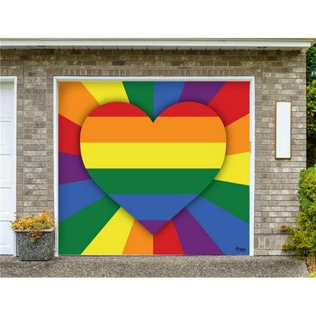 Image of My Door Decor 285903PRDE-004 7 x 8 ft. Love is Love Outdoor LGBT Door Mural Sign Car Garage Banner Decor, Multi Color