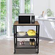 Oshion Microwave Cart on Wheels, 3-Tier Rolling Kitchen Cart Baker Rack with Adjustable Storage Shelves Utility Cart for Living Room