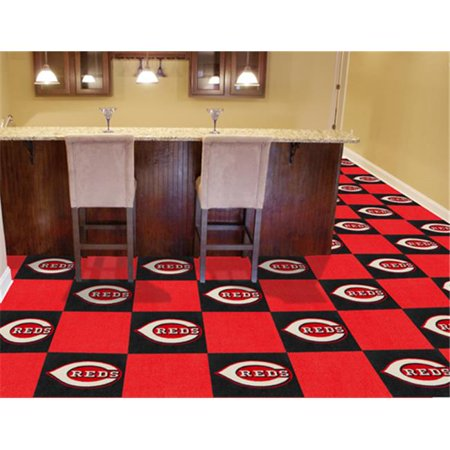 Fanmats 8580 Cincinnati Reds Carpet Tiles 18 In  X 18 In  Tiles