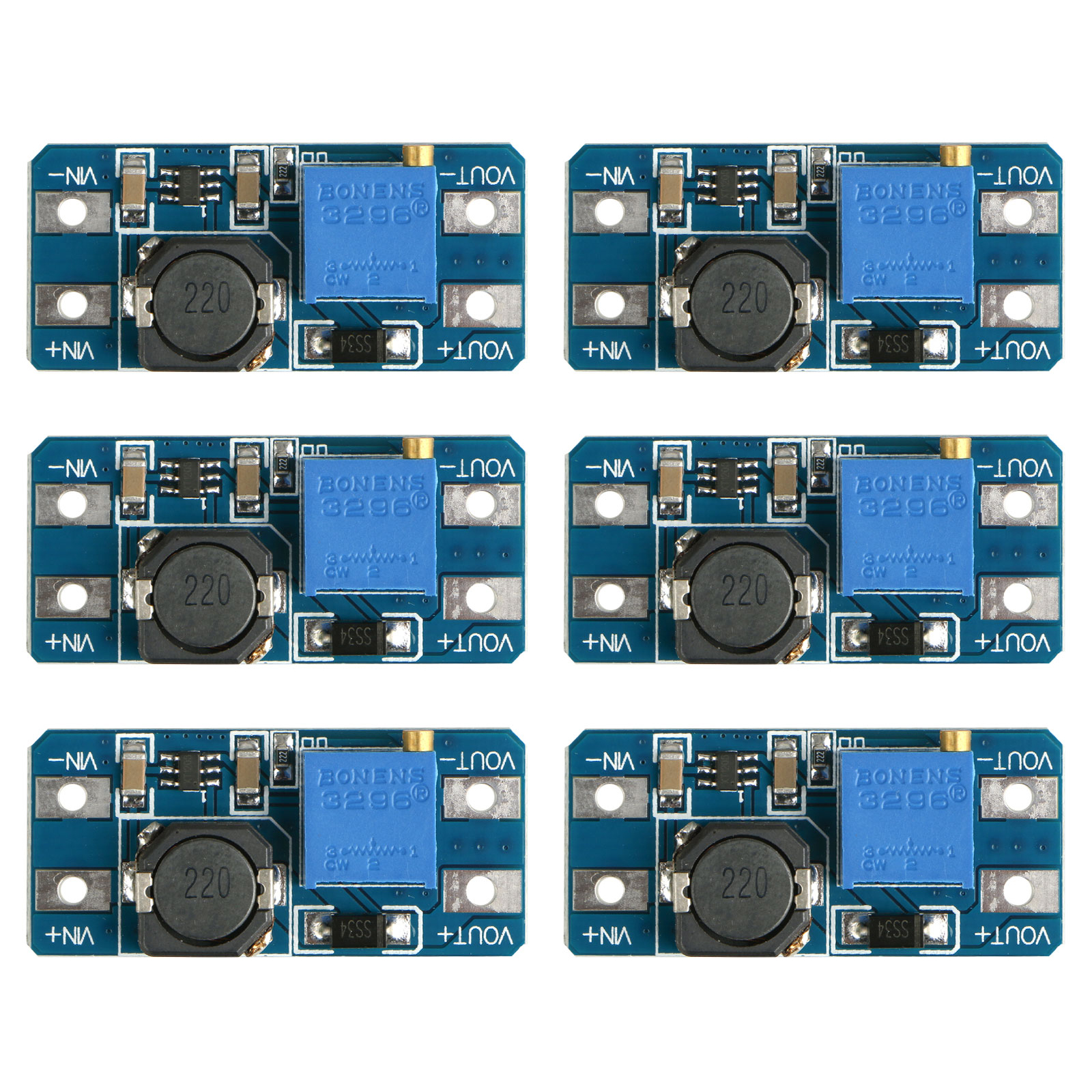 TSV 6 Pack MT3608 DC 2A Step Up Power Booster Module 2-24v Boost Converter for Arduino
