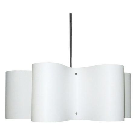 Dainolite 3 Light Wave Drum Pendant w/White Shade ()
