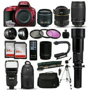 """Nikon D5500 Red DSLR Digital Camera + 18-55mm VR II + 6.5mm Fisheye + 55-300mm VR + 650-2600mm Lens + Filters + 128GB Memory + Action Stabilizer + i-TTL Autofocus Flash + Backpack + Case + 70"""" Tripod"""