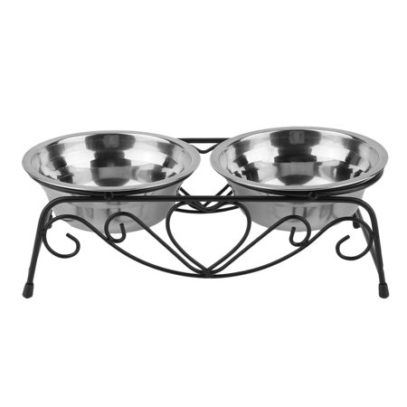 High Quality Stainless Steel Double Pet Feeding Bowls Cats Dog Water Food Feeder Dish With Retro Iron Stand Pet Food Bowls