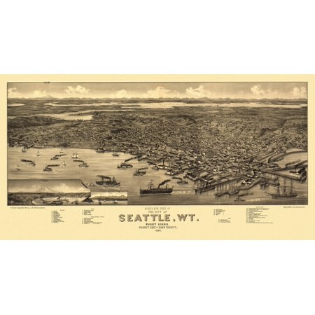 Vintage Map of Seattle Washington 1884 King County Poster Print