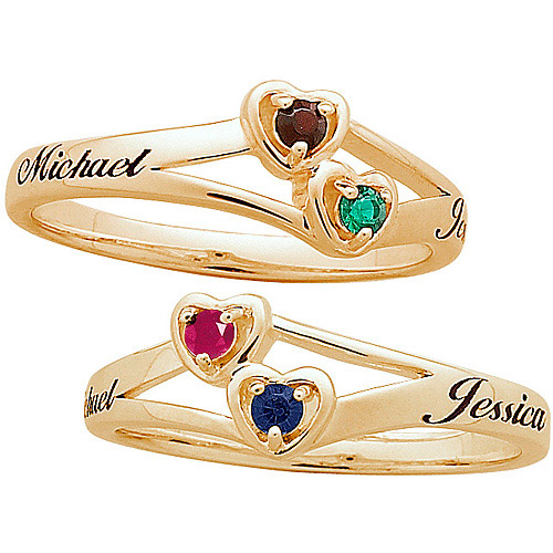 personalized 10kt gold couples name birthstone