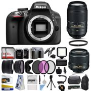Nikon D3300 DSLR Digital Camera with 18-55mm VR II + 55-300mm VR Lens + 128GB Memory + 2 Batteries + Charger + LED Video Light + Backpack + Case + Filters + Auxiliary Lenses + More!