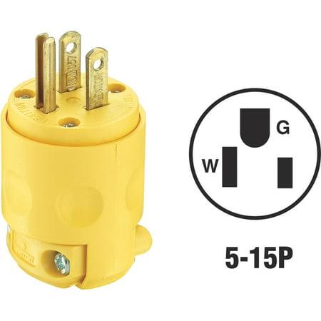 Leviton 515PV 3 Wire 2 Pole Polarized Commercial Grade Straight Blade Plug 125 Volt 1-Phase 15 Amp NEMA 5-15P