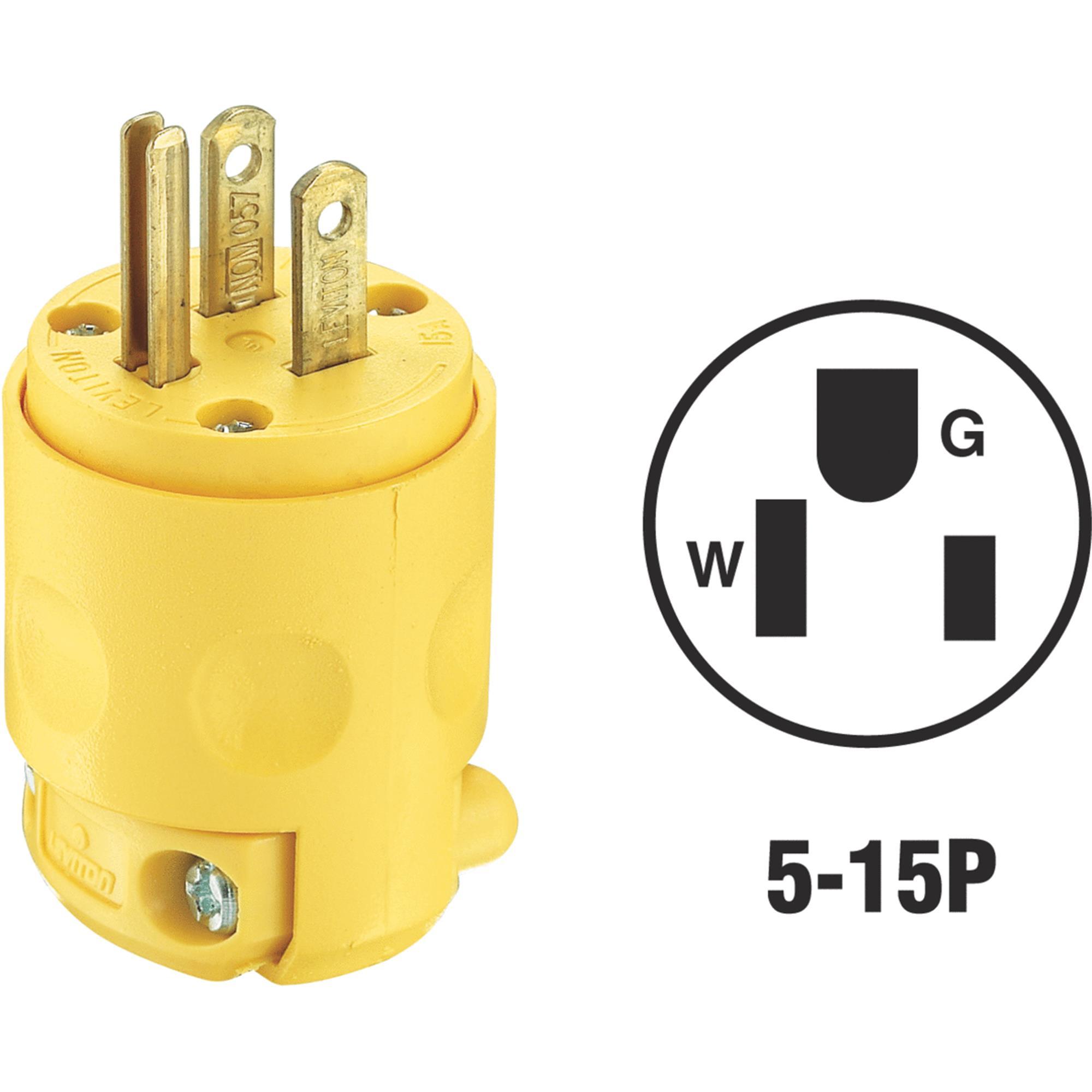 Leviton 515PV 3 Wire 2 Pole Polarized Commercial Grade Straight Blade Plug 125 Volt 1-Phase 15 Amp NEMA 5-15P Yellow