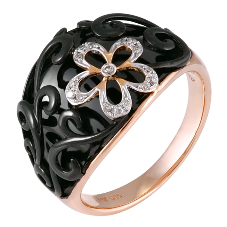 14K Rose Gold 0.06ct Soulful Flower Pave Set White Round Diamond Ring