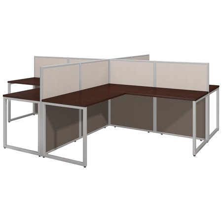 EOD760MR-03K Bush Business Furniture Easy Office Collection Cubicle Workstations & Walls 572 Lbs Weight Capacity Mocha Cherry 60 W 4 Person L-Shape Desk Open Office