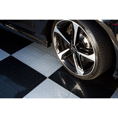 "IncStores Nitro 12""x12"" Diamond Plate Black Tiles (Bulk 30 Pack) - Modular Interlocking Garage Floor"