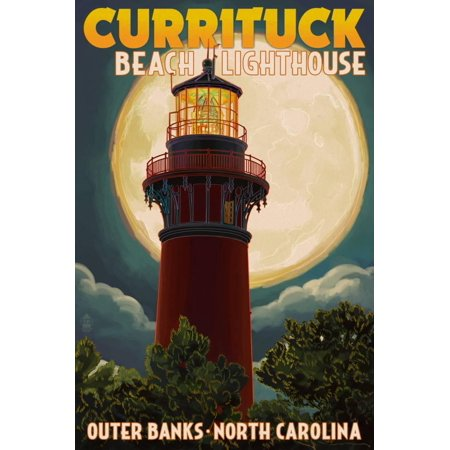 Currituck Beach Lighthouse and Moon - Outer Banks, North Carolina Print Wall Art By Lantern Press