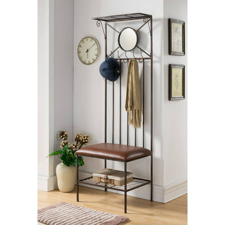Copper Metal Entryway Hallway Storage Bench Hall Tree Coat