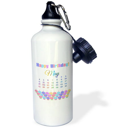 3dRose Birthday on May 19th, Colorful Cupcakes with Candles with Flames, Sports Water Bottle, 21oz