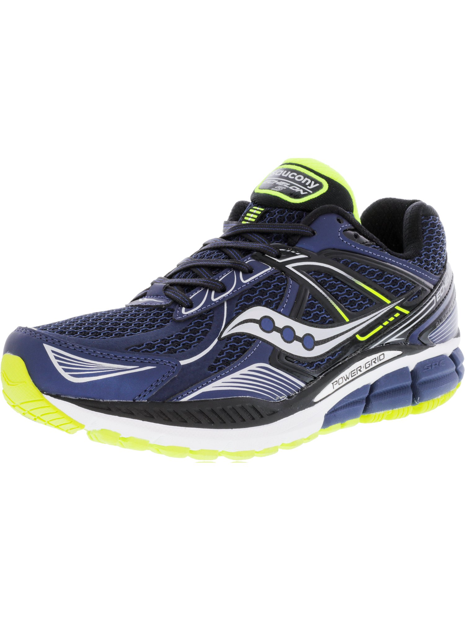 Saucony Men's Echelon 5 Navy   Black Cotton Ankle-High Running Shoe 7W by Saucony