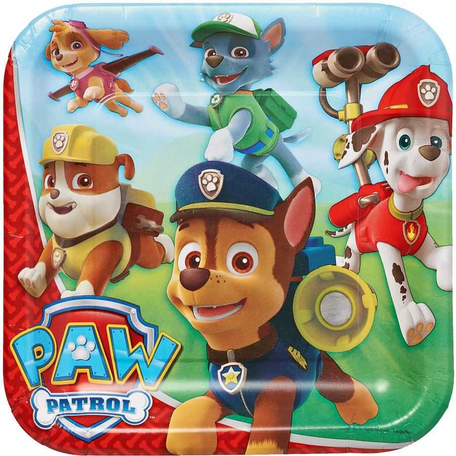 "PAW Patrol 9"" Square Plate, 8 Count, Party Supplies"