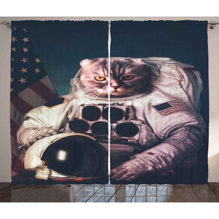 Space Cat Curtains 2 Panels Set, Vintage Image Astronaut Kitty with American Flag with Helmet Image, Window Drapes for Living Room Bedroom, 108W X 96L Inches, White Red And Dark Blue, by Ambesonne