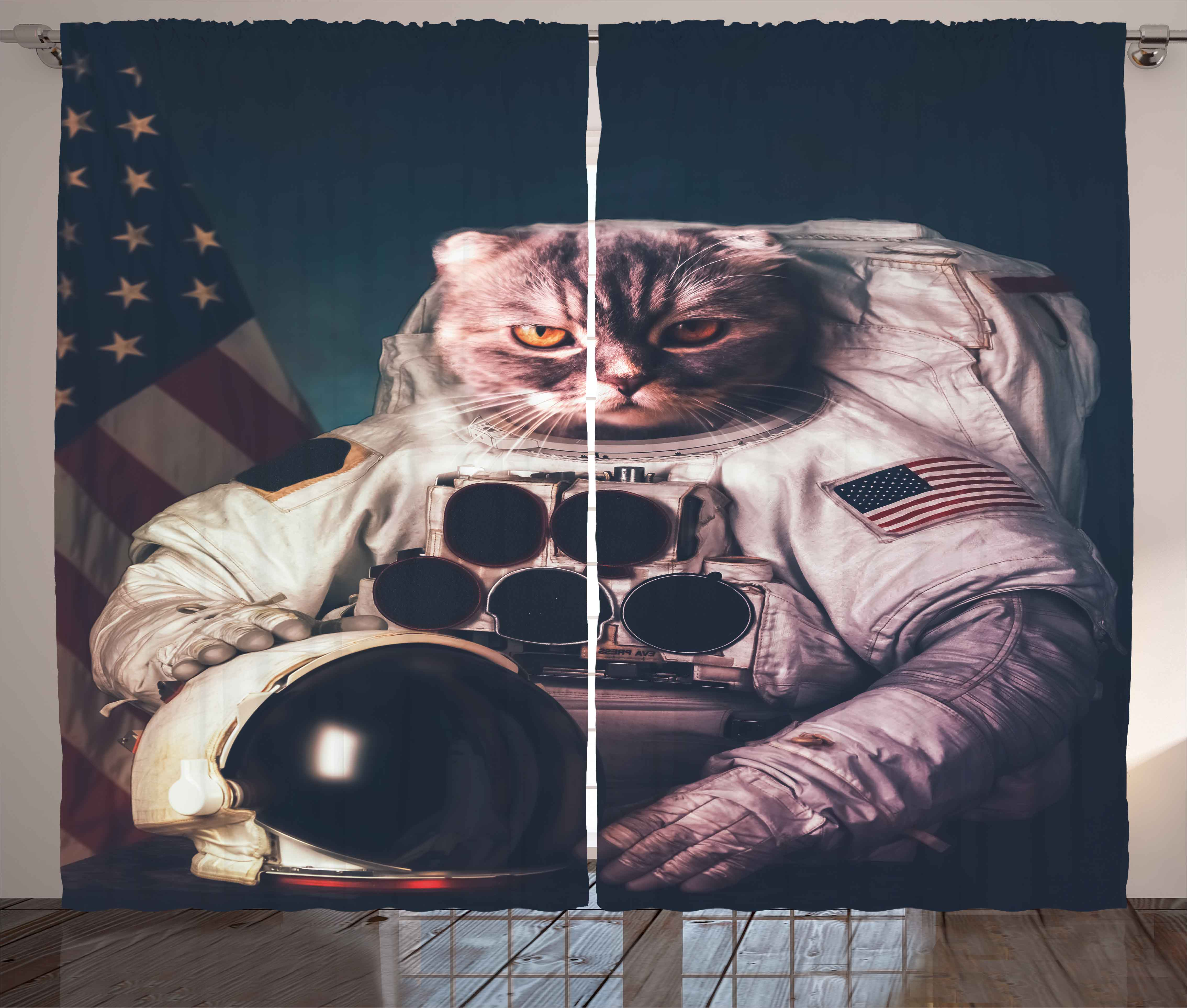 Space Cat Curtains 2 Panels Set, Vintage Image Astronaut Kitty With American  Flag With Helmet