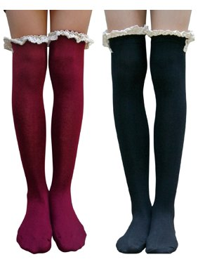 e146b319e79 Product Image AM Landen Gothic Lolita style Knee-Highs Over-Knee High Lace  Trim Cotton
