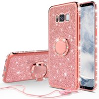 Glitter Ring Stand Phone Case for Samsung Galaxy S8 Case,Cute Bling Bumper Kickstand Sparkly Clear Soft Protective for Girls WomenRose Gold