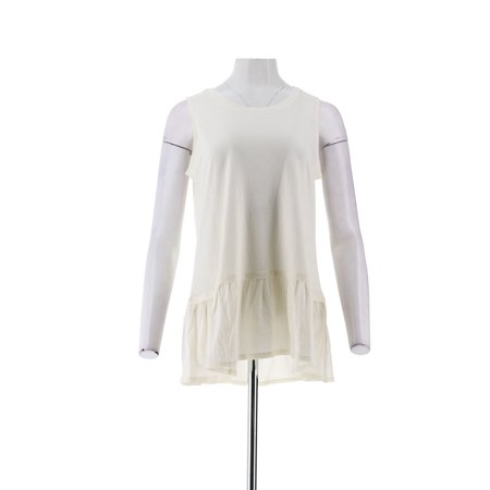 LOGO Lori Goldstein Cotton Modal Knit Tank Peplum Hem A290509 Cotton And Modal Tank Top Splendid
