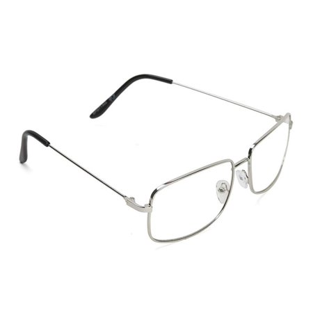 The One Who Knocks Clear Rectangular Aviator Lens Glasses, Silver, Clear Rectangle Aviator Lens Glasses By Gravity (Who Sells Reading Glasses)