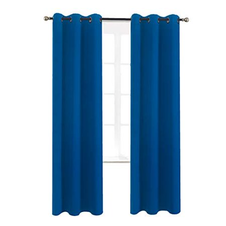 Aquazolax Blackout Curtain Panels for Sliding Door - Solid Thermal Insulated Grommets Blackout Draperies/Drapes for Kids' Room, 1 Pair, 42W x 72L Inch, Royal Blue